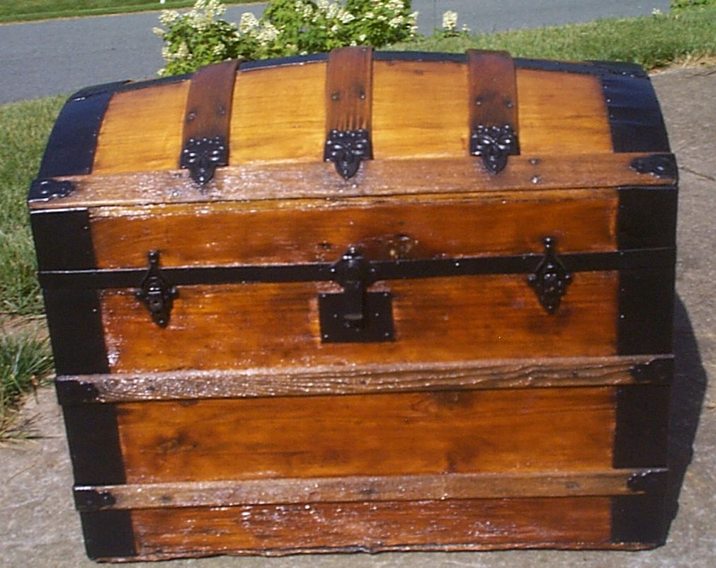 restored all wood dome top antique steamer trunk for sale 907