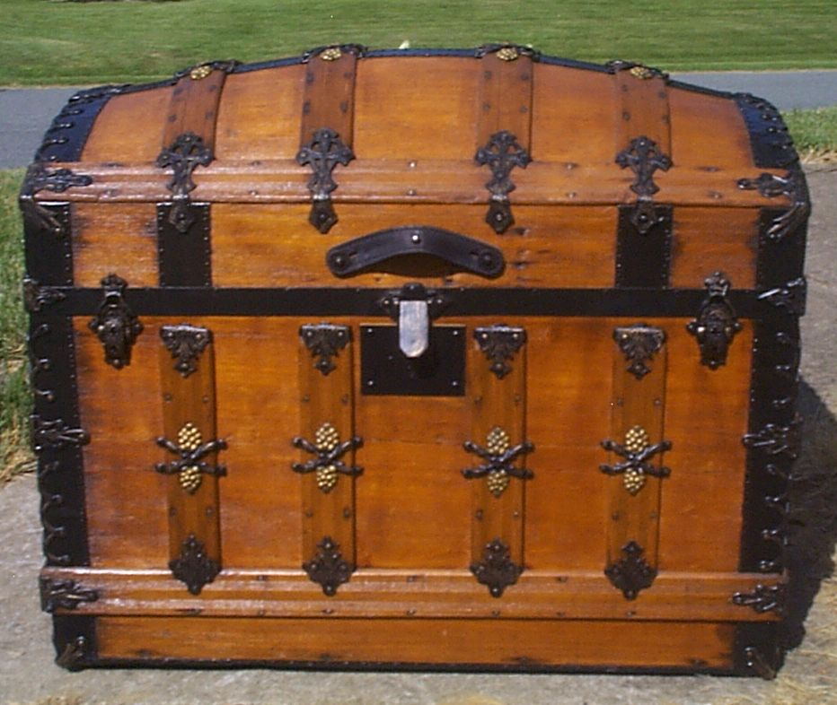 restored all wood dome top antique steamer trunk for sale 908