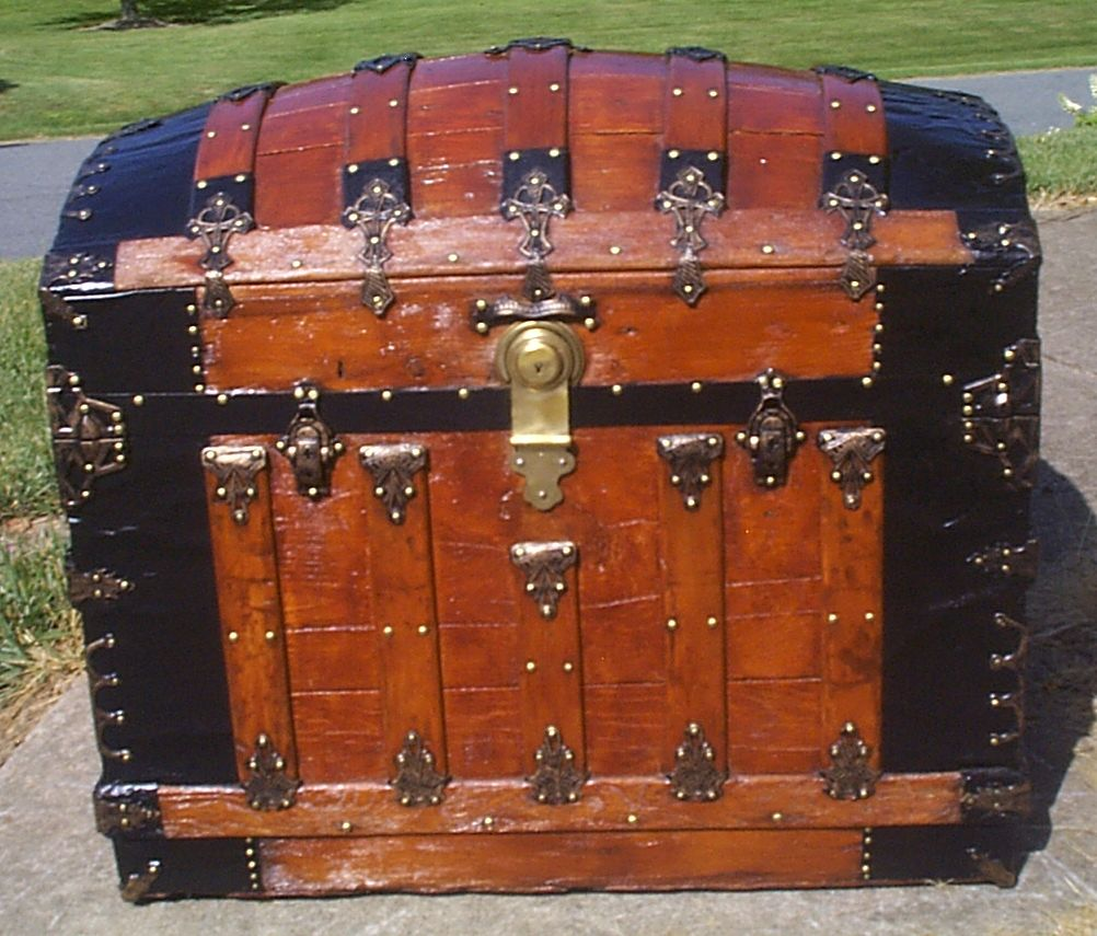 restored all wood dome top antique steamer trunk for sale 909