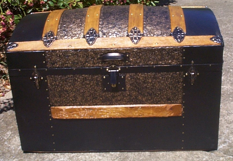 restored all metal dome top antique trunk for sale 911