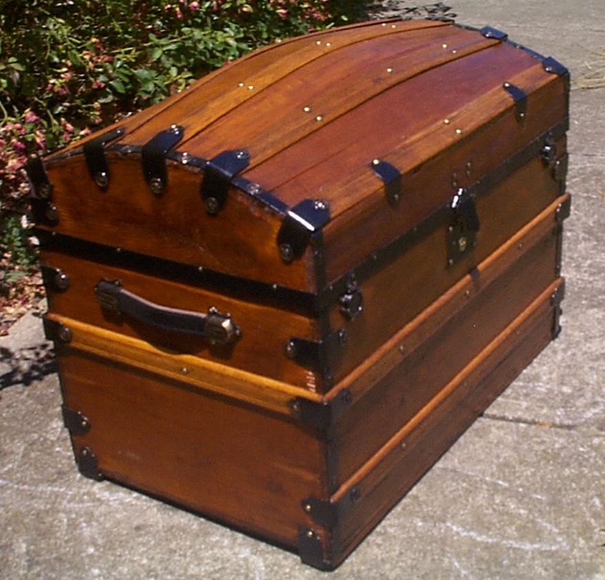 restored all dome top antique oak slat steamer trunk for sale 912