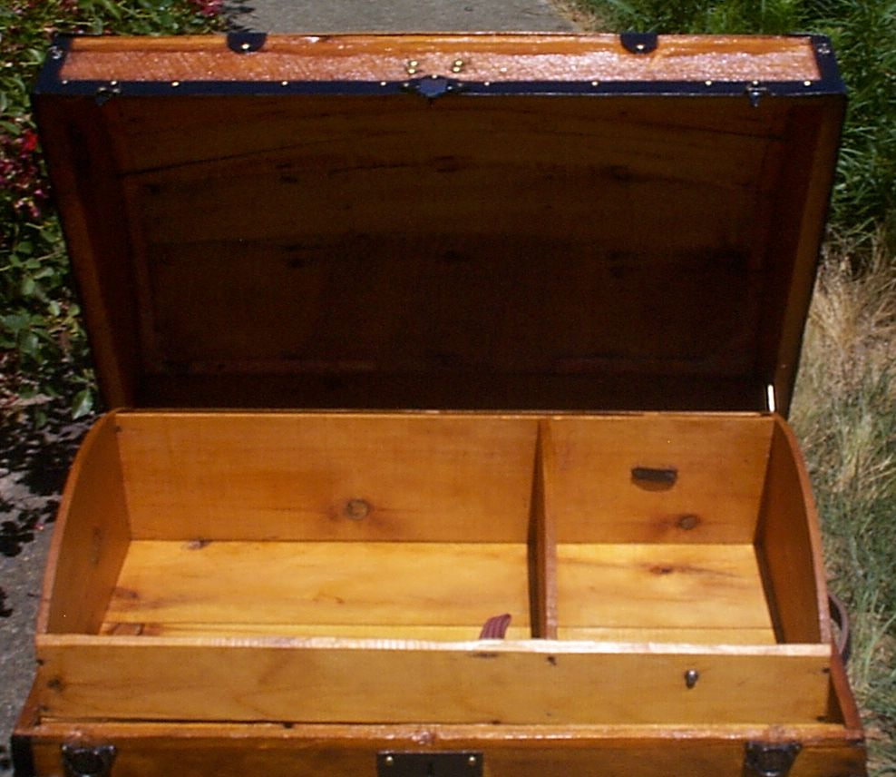 restored wood dome top antique oak slat steamer trunk for sale 912