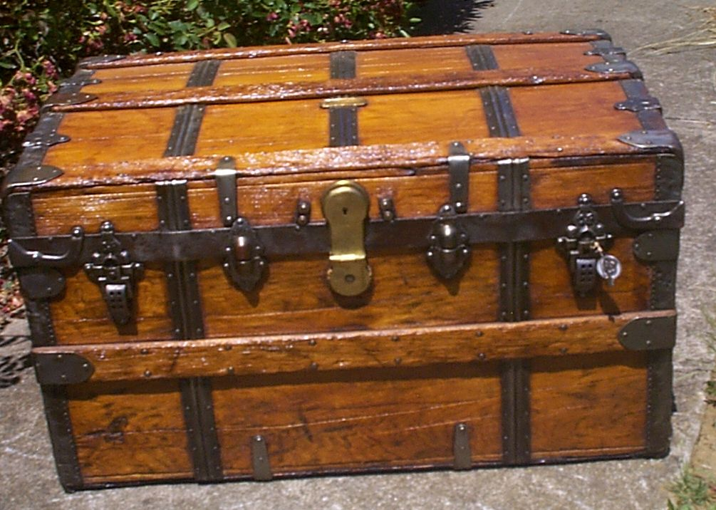 restored all wood dome top antique steamer trunk for sale 913