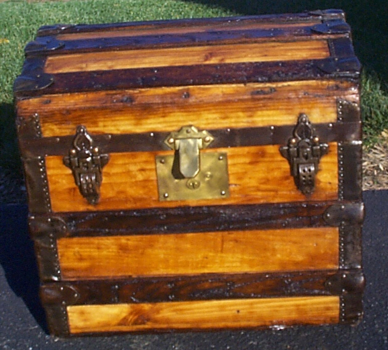 restored all wood antique steamer trunk for sale 915