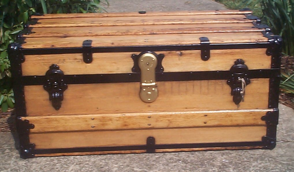 restored all wood flat top antique trunk for sale 727