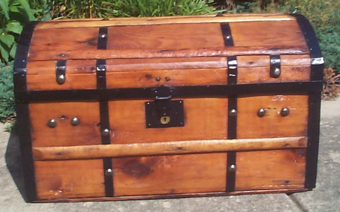 restored all wood civil war dome top antique trunk for sale 728
