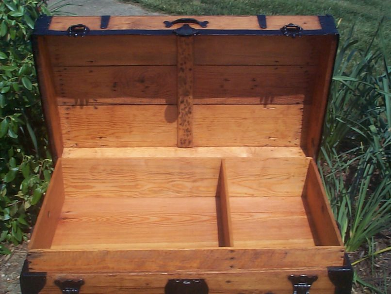 restored victorian all wood roll top antique trunks for sale 729