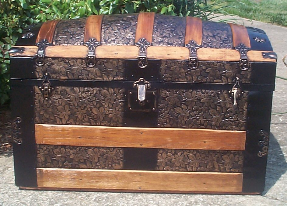 restored all wood roll and metal dome antique trunks for sale 730
