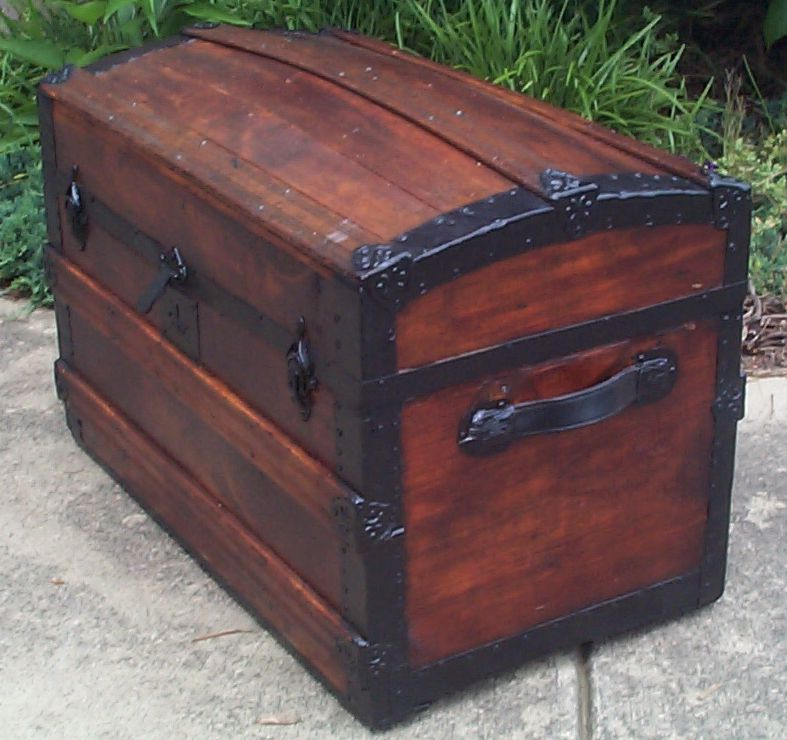 restored victorian all wood dome top antique trunks for sale 731