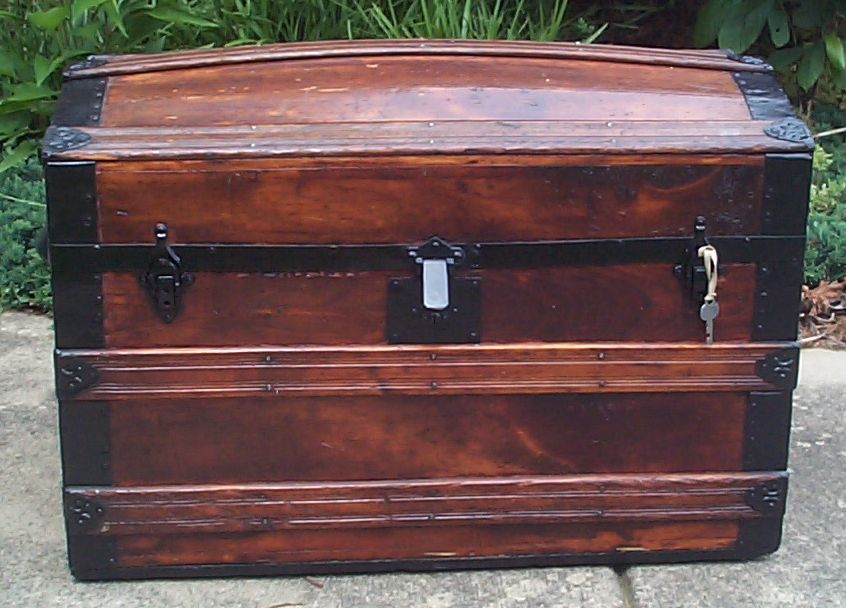 restored all wood dome top antique trunks for sale 731
