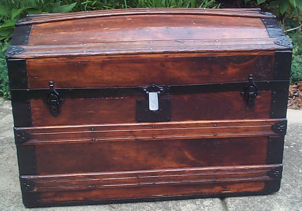 restored victorian all wood and dome top antique trunks for sale 731