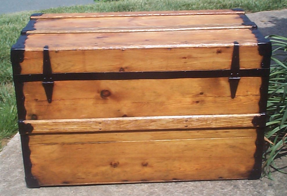restored victorian all wood flat top antique trunks for sale 732