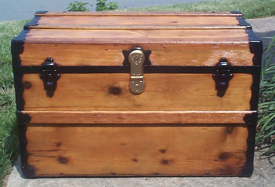 restored all wood flat top antique trunks for sale 732