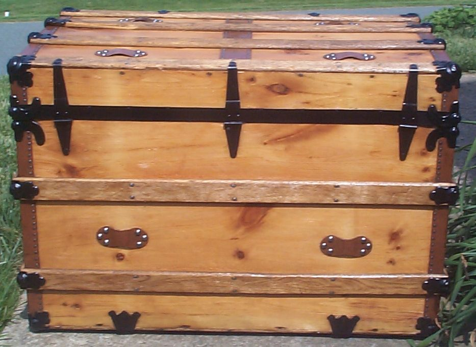 restored victorian all wood flat top antique trunks for sale 733
