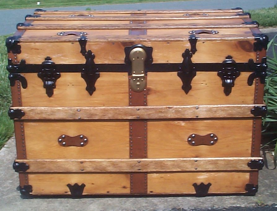 restored all wood flat top antique trunks for sale 733
