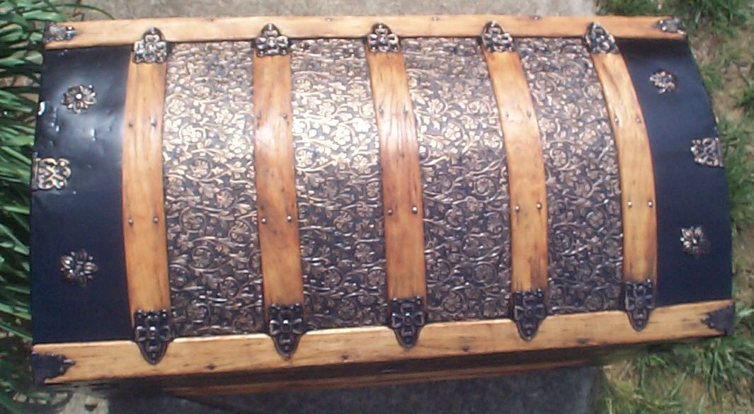 restored victorian all wood and metal dome top antique trunks for sale 734