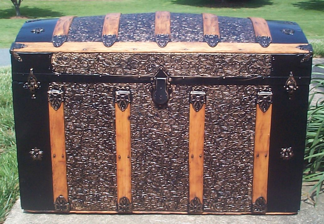 restored all wood roll and metal dome antique trunks for sale 734