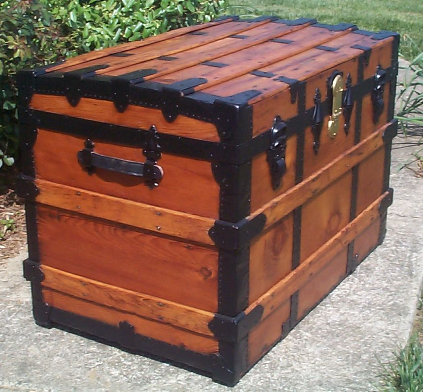 restored victorian all wood roll top antique trunks for sale, rh macy and co 735