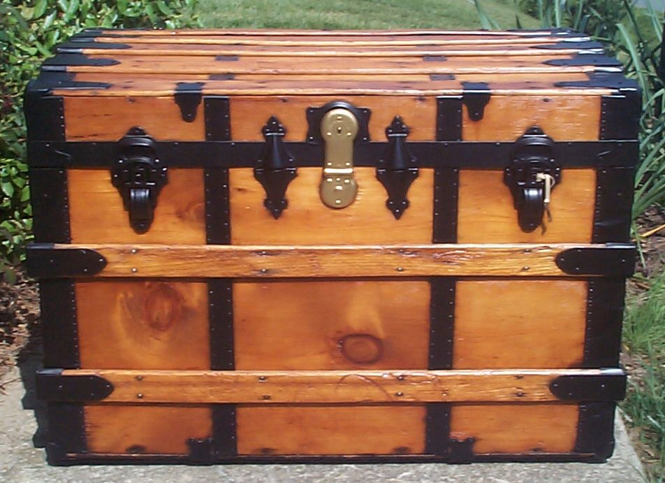 restored all wood roll top antique trunks for sale 735