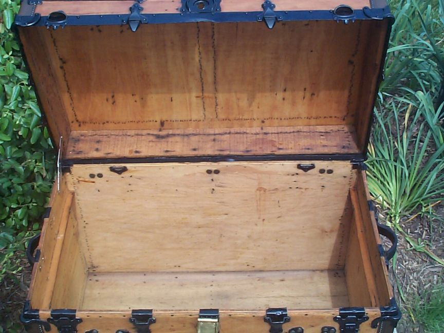 restored victorian all wood roll top antique trunks for sale, 736