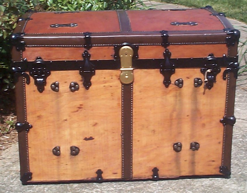 restored all wood roll top antique trunks for sale 736
