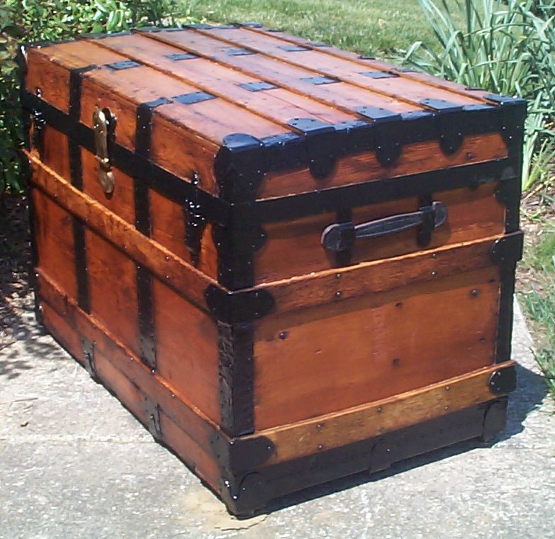 restored victorian all wood flat top antique trunks for sale 737