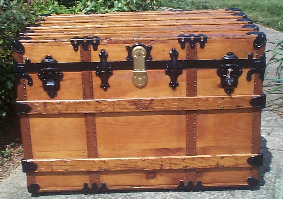 restored all wood flat top antique trunks for sale 737