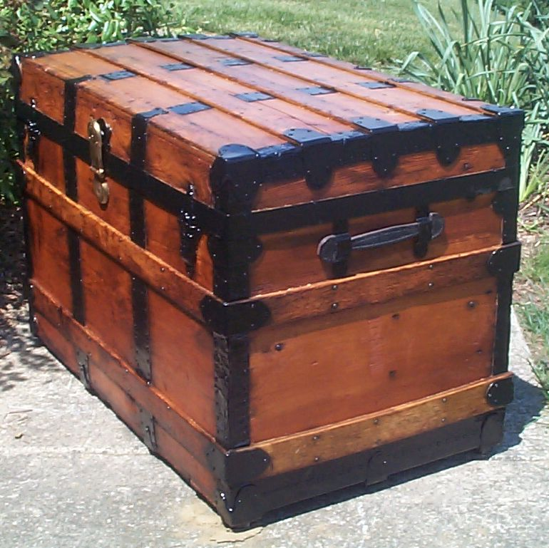 restored victorian all wood flat top antique trunks for sale 738
