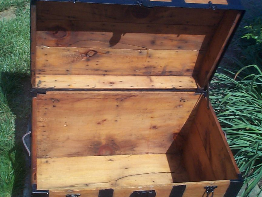 restored victorian all wood roll top antique trunks for sale 740