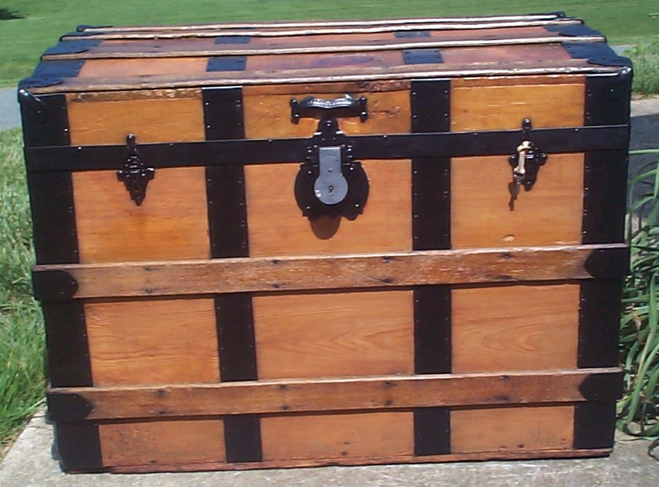 restored all wood humpback roll top antique trunks for sale 740