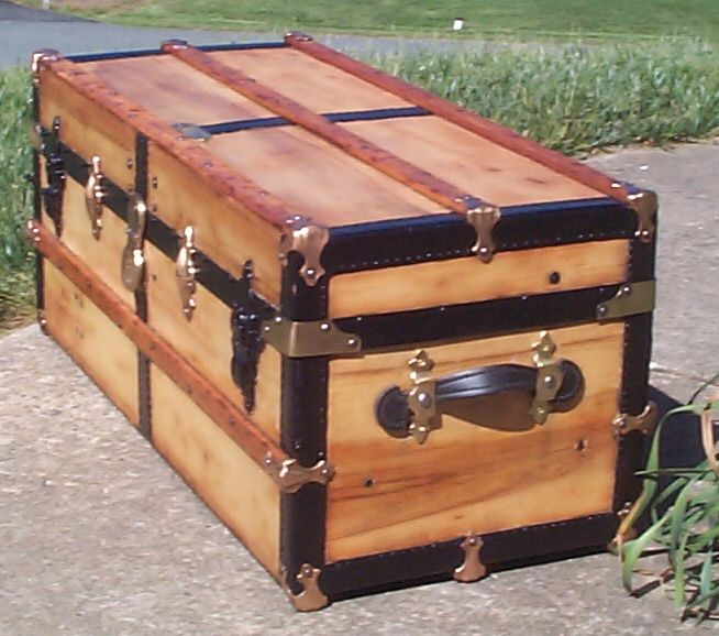 restored victorian all wood low profile flat top antique trunks for sale 741