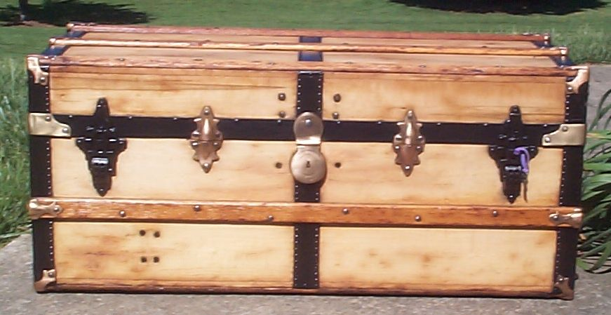 restored all wood low profile flat top antique trunks for sale 741