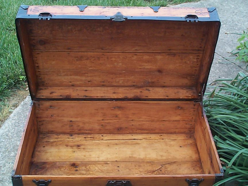 restored victorian all wood low profile flat top antique trunks for sale 742