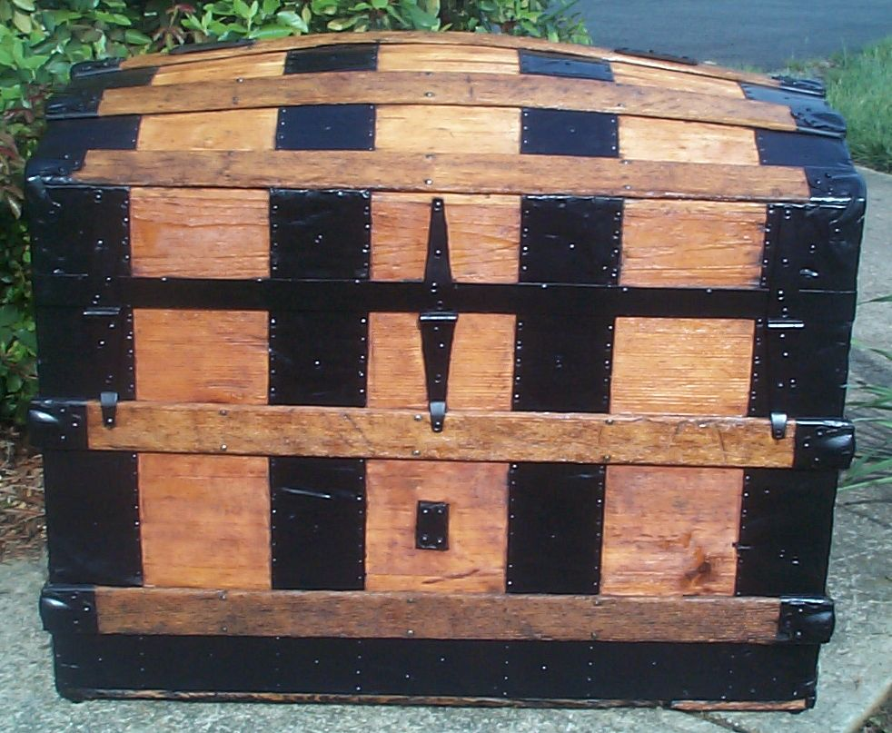 restored victorian all wood huge dome top humpback antique trunks for sale 743