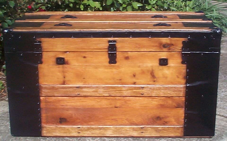 restored victorian all wood flat top antique trunks for sale 744