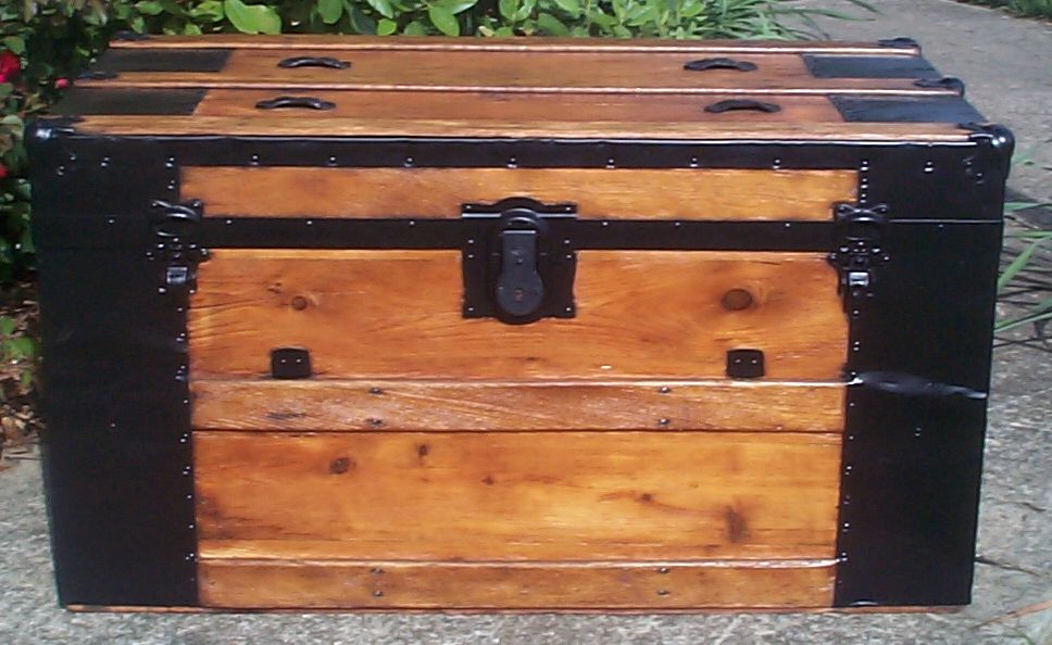 restored all wood flat top antique trunks for sale 744