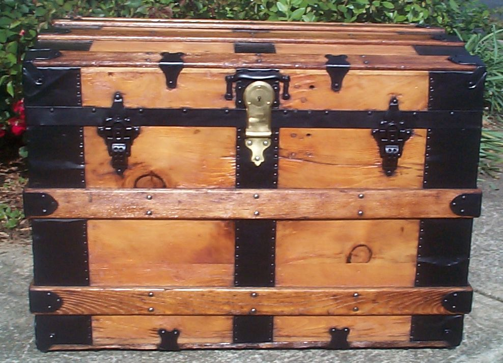 restored all wood roll top antique trunks for sale 745