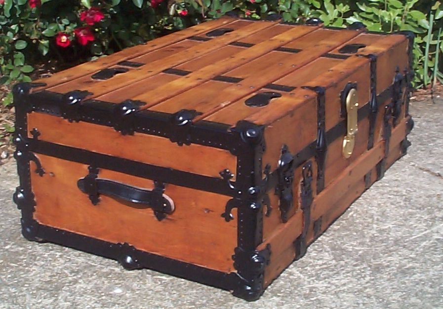 restored victorian all wood low profile flat top antique trunks for sale 747