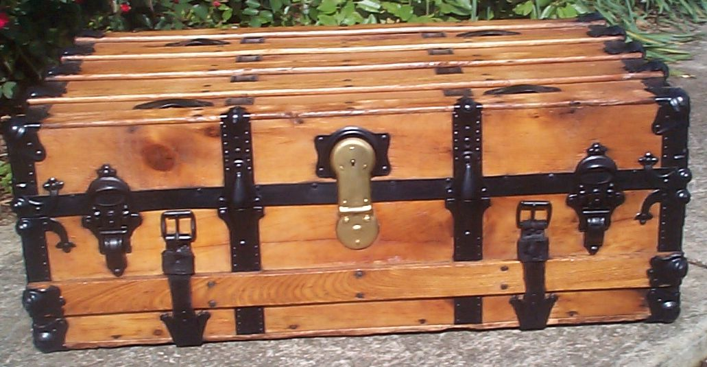 restored all wood low profile flat top antique trunks for sale 747