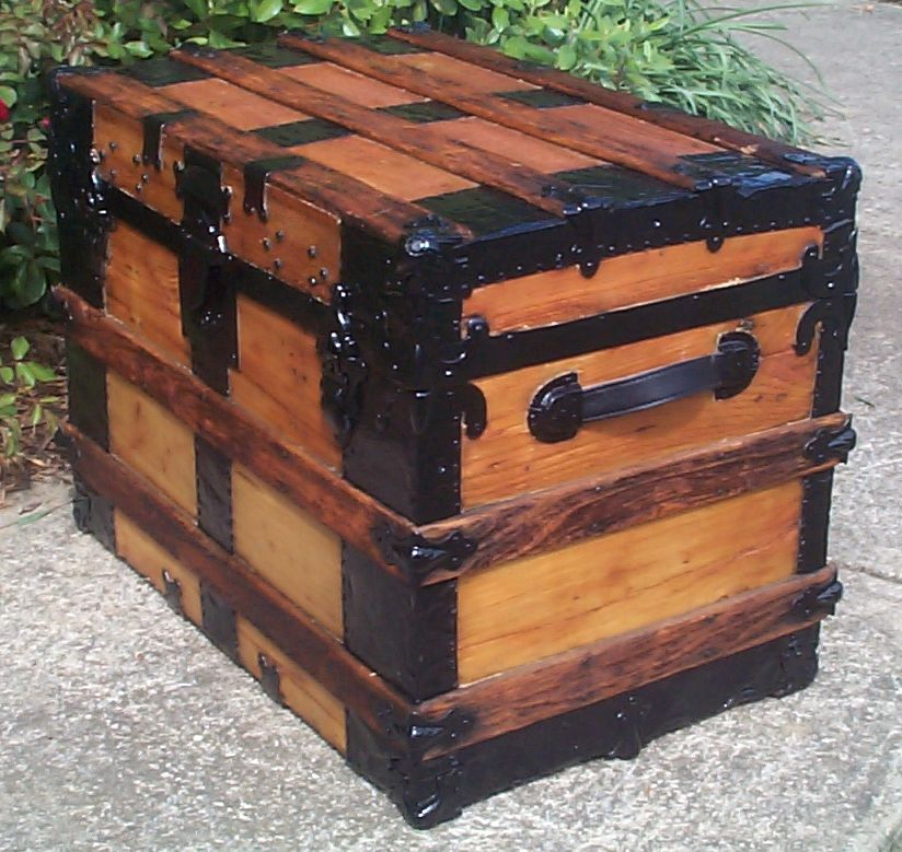 restored victorian all wood flat top antique trunks for sale 748