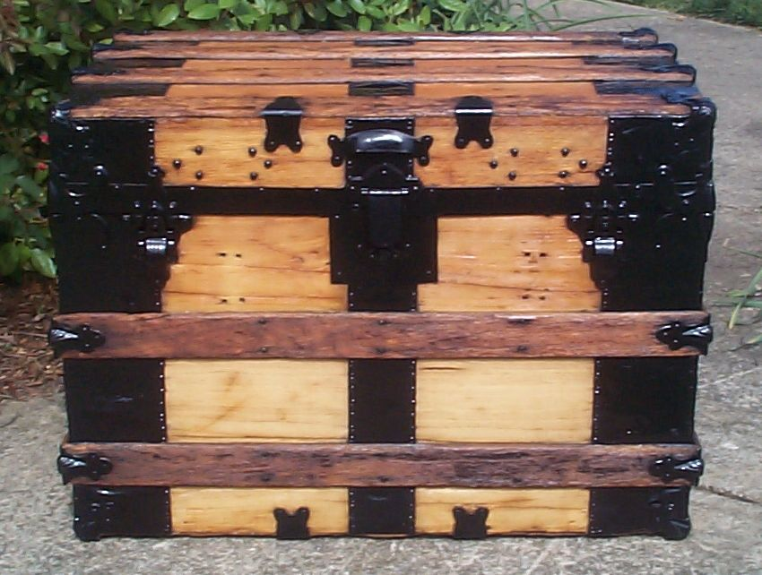 restored all wood flat top antique trunks for sale 748
