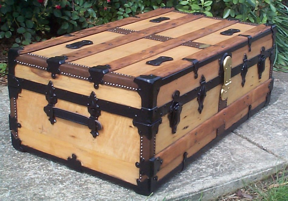 restored victorian all wood flat top antique trunks for sale 749