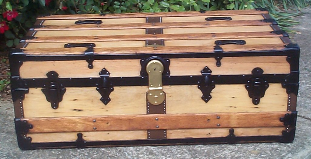 restored all wood flat top antique trunks for sale 749