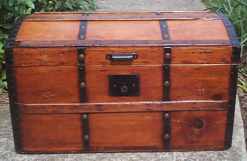 restored all wood civil war dome top antique trunks for sale 750