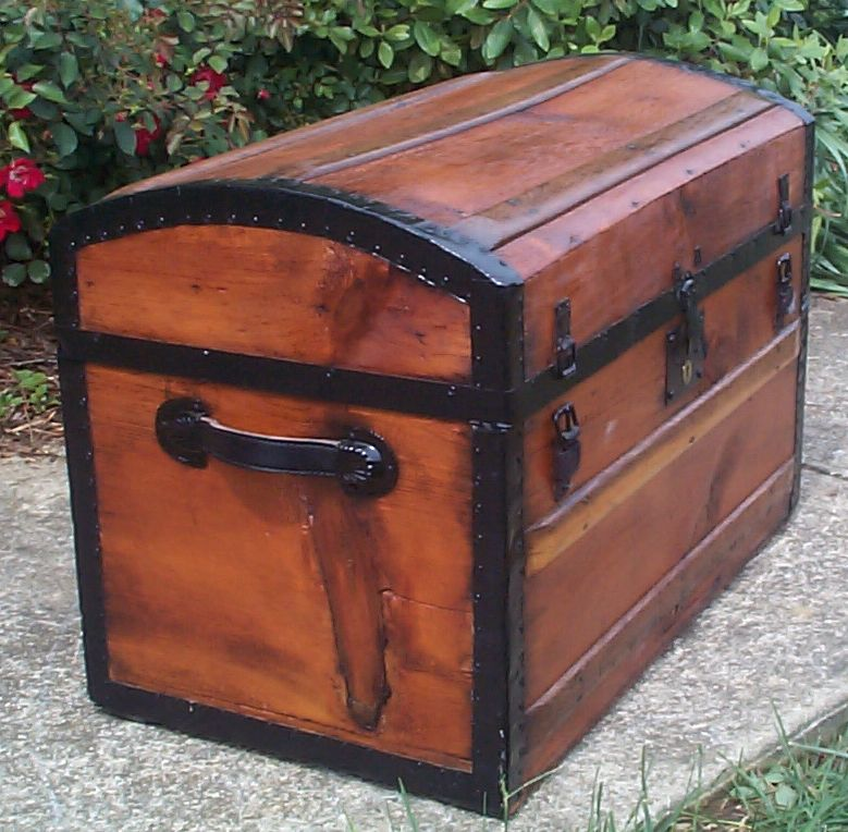 restored victorian all wood civil war dome top antique trunks for sale 751