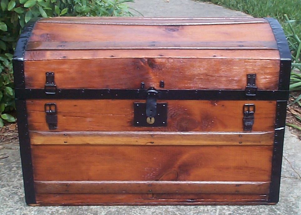 restored all wood civil war dome top antique trunks for sale 751