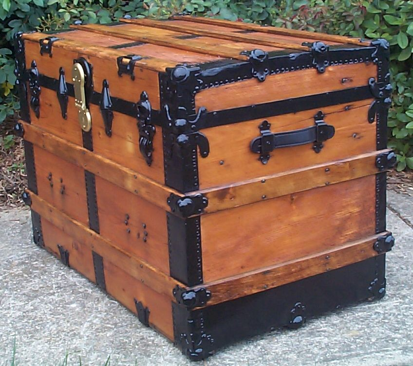 restored victorian all wood large flat top antique trunks for sale 752