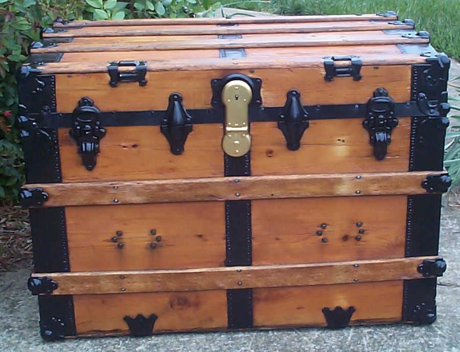 restored all wood large flat top antique trunks for sale 752