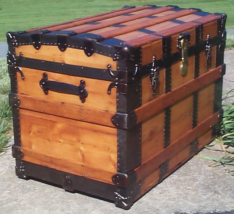 restored victorian all wood large roll top antique trunks for sale 754