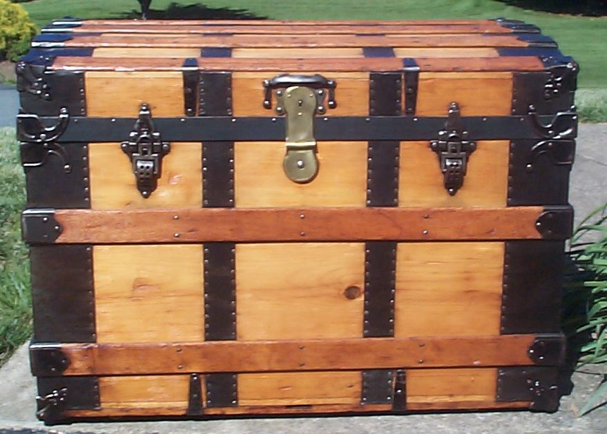 restored victorian all wood large roll top antique trunks for sale 7543